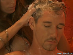 Golden-Haired gives a tugjob massage
