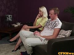 British femdoms tugging cfnm subject in group