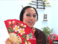 Oriental chick makes a sexually excited boy cum