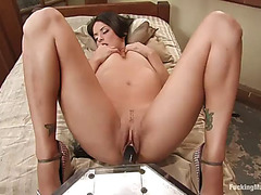 Hot brunette's screwed by machines