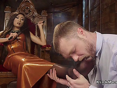 Slaver transsexual makes thrall cum