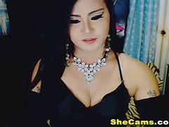 Nice-Looking tgirl jerking her knob on livecam