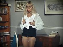 Erotic stranger threatening-fearsome stocking golden-haired undress dance