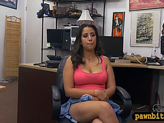 Non-Professional woman railed by wicked pawn stud in his office