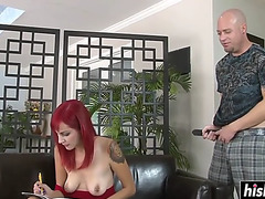 Redhead wench is hungry for anal sex