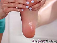 Lesbo rubs women feet