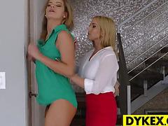 Breathtaking lesbo boss seducing her secretary