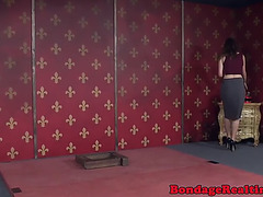 Hogtied bonded sub spanked and body whipped