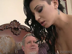 Aimee darksome is drilled by an old dude with a large dong