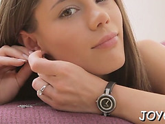 Red sexy legal age teenager drills muff deeply