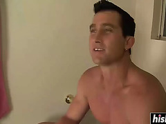 Golden-Haired sucks jock in the latrine