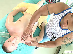 Homosexual client is screwed naive by his masseuses's large darksome wang