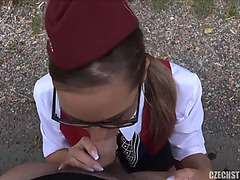 Fucking in outdoor with her stewardess girlfriend
