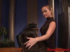 Dominatrix playgirl punishing fastened sub