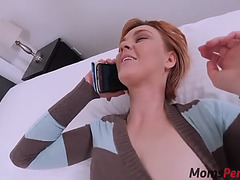 Son copulates mom whilst this babe is on call with daddy!