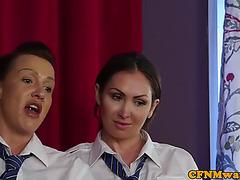 Cocksucking femdoms tease undressed lad
