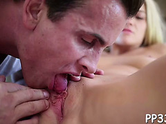 Sexy massage with juicy blow job