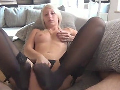 Golden-Haired footjob in darksome nylons