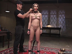 Gagged thrall rides sex tool on a stick