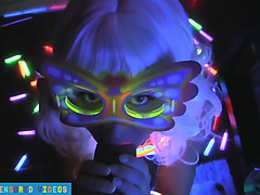Sexy raver gives oral,fearsome footjob and tugjob