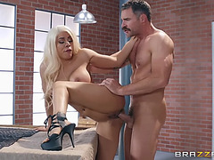 Luna star in hawt high heels receives drilled standing