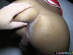Glamorous sheboy pounded in the booty reverse cowgirl style