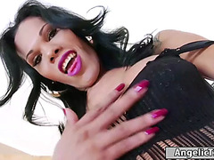 Latin tgirl priscylla modella jerking off and takes a ooze