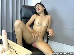 Sexy fake penis fuck show