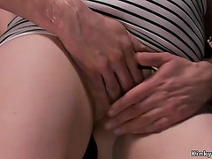 Bent over golden-haired throat and muff drilled