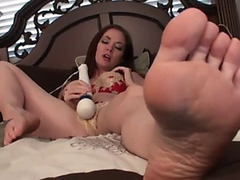 Hot brunette hair naked foot tease and vagina