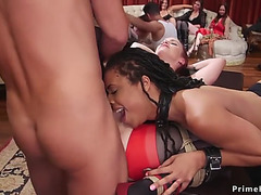 Anal interracial three-some at party