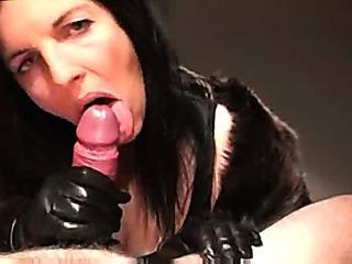 Porn Tube of Handjob In Leather