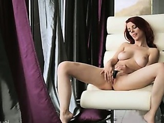 Porno Video of Redhead Enjoy New Dildo On The Armchair