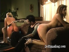 Two sluts getting some ass slapping