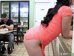 Mandy muse seducing a lad int the cafe