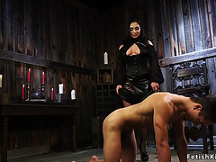 Female-Dominant rides gag sextoy on male thrall