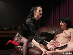 Shaggy bawdy cleft lesbo whipped in s&m