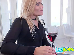 Jealous housewife calls upon her husbands assistant to team fuck her muff