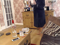 Drunk whore begins her day the ordinary way