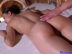 Exotic massage ends in hawt lesbo fingering