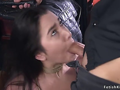 Maid in fishnets drilled in slavery