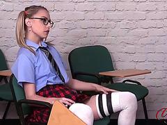 Schoolgirl in high heels put his teacher lascivious