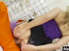 Tanya tate receives her bald bawdy cleft drilled