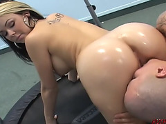 Wet a-hole pawg rides a large weenie