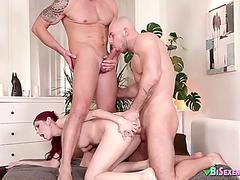 Redhead girl vs 2 bisexuals in male+male+female porn