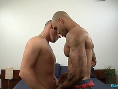 Latin homosexual bareback with spunk fountain