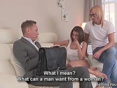 Hot wife bonks her husbands boss for specie
