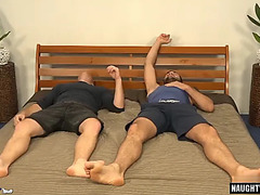 Muscle homo double penetration and ejaculation