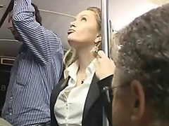 Blonde groped to multiple agonorgasmos on bus &amp screwed