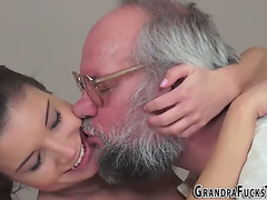 Legal Age Teenager blows gramps knob